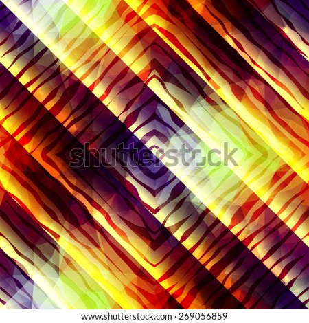 Seamless background pattern. Abstract diagonal exotic strips pattern on blurred background. - stock vector