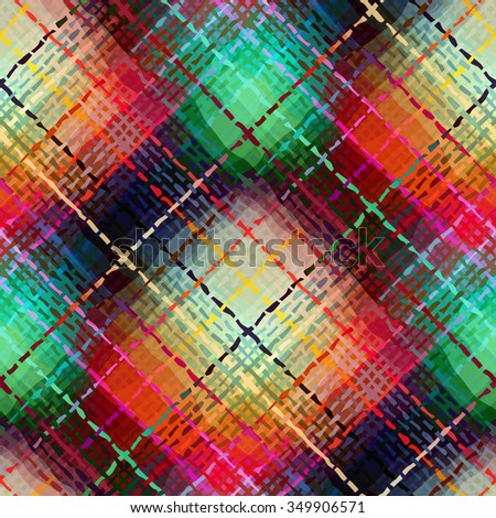 Seamless background pattern. Abstract diagonal plaid pattern. Imitation of canvas texture, red and green. - stock vector