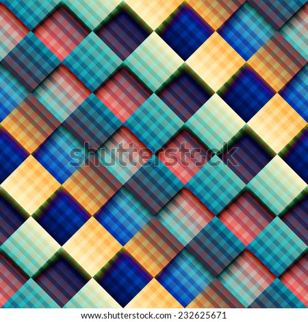 Seamless background pattern. Abstract geometric pattern with diagonal plaid. - stock vector