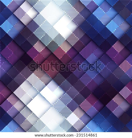 Seamless background pattern. Abstract pixel pattern on blue matrix board. - stock vector