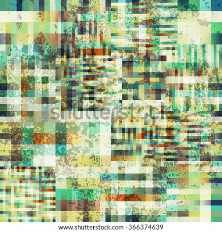 Seamless background pattern. Abstract plaid pixel pattern with the grunge effect. - stock vector