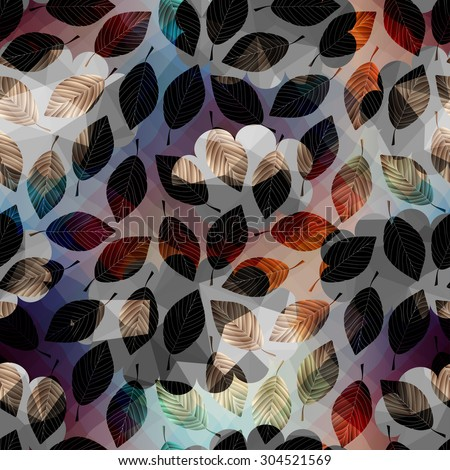 Seamless background pattern.  Autumn pattern with leaves. - stock vector