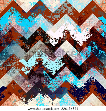Seamless background pattern. Chevron pattern with grunge effects. - stock vector