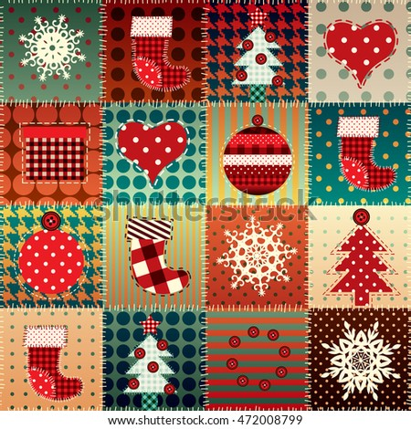 Seamless background pattern. Christmas background in patchwork style.