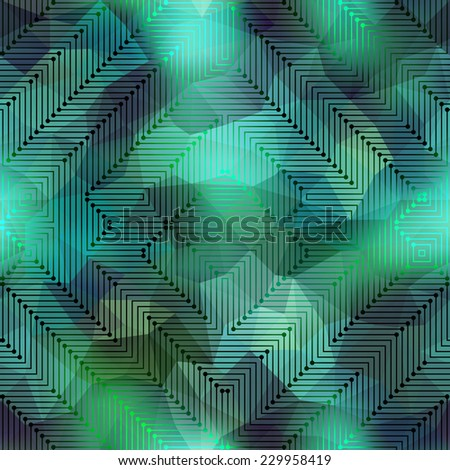 Seamless background pattern. Computer green matrix pattern on blurred background. - stock vector