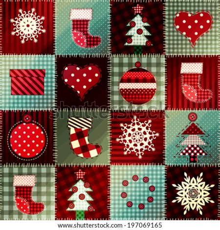 Seamless background pattern. Cozy Christmas pattern in patchwork. - stock vector