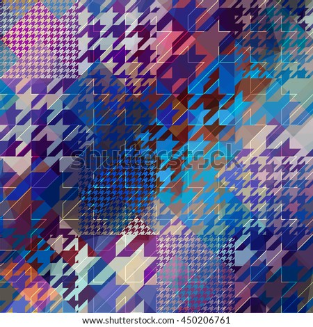 Seamless background pattern. Diagonal grunge hounds-tooth pattern. - stock vector