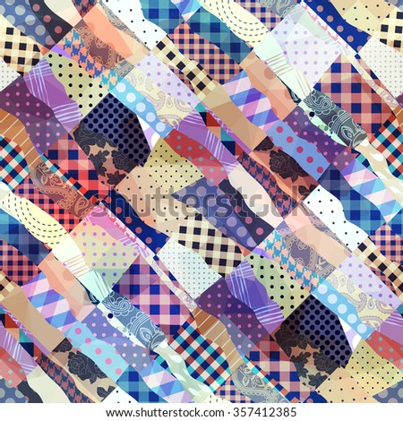 Seamless background pattern. Diagonal patchwork wavy pattern. - stock vector