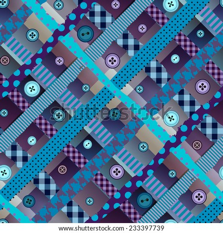 Seamless background pattern. Diagonal plaid pattern in patchwork style with the buttons. - stock vector