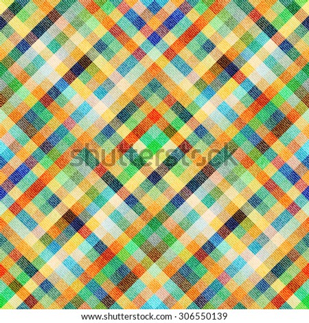 Seamless background pattern. Diagonal textured plaid background. - stock vector