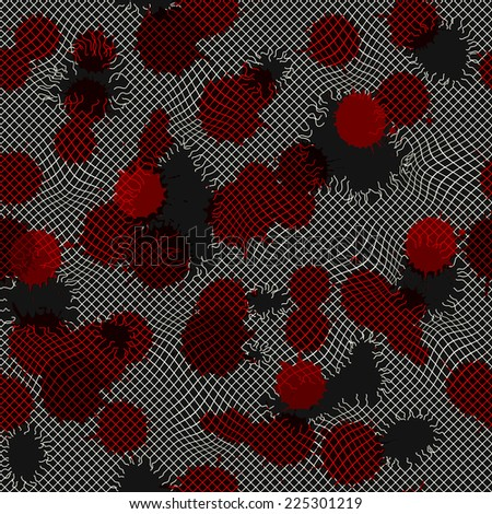 Seamless background pattern. Drops of blood on the gauze torn