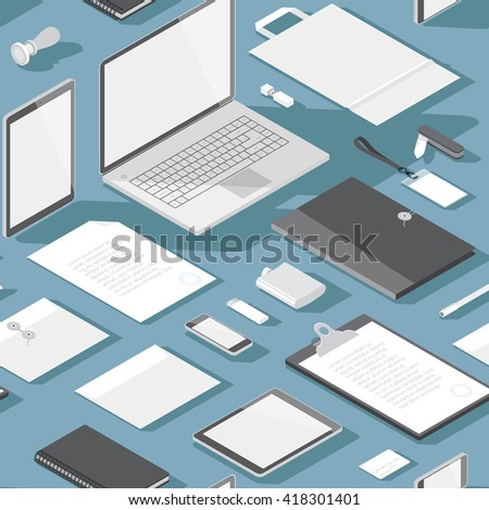 Seamless background pattern for business. Stationery office objects and computer devices. Vector illustration. - stock vector