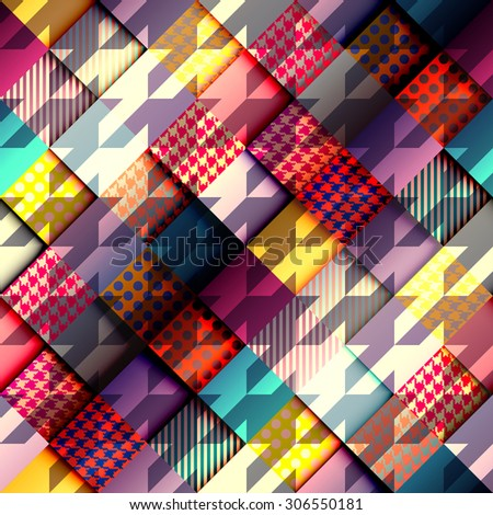 Seamless background pattern. Geometric diagonal background with hounds-tooths pattern. - stock vector