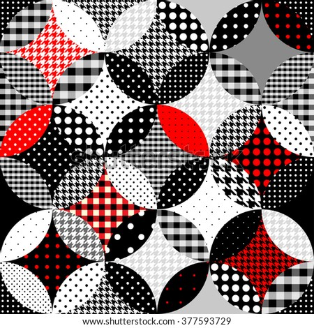 Seamless background pattern. Geometric patchwork in the retro style.