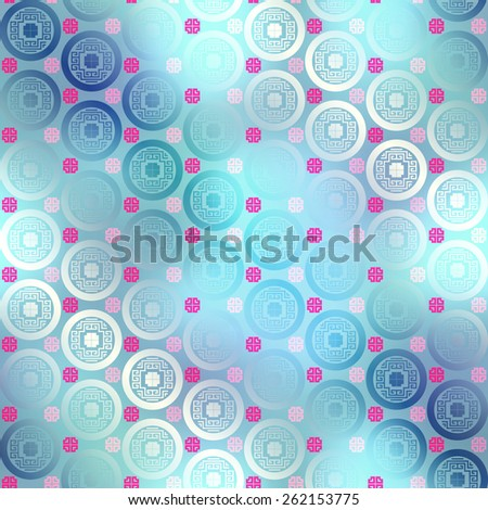 Seamless background pattern. Geometric pattern in chinese style on blurred background.