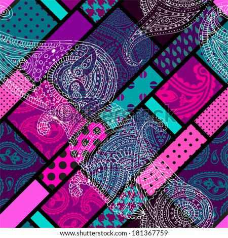 Seamless background pattern. Geometric pattern with paisley - stock vector