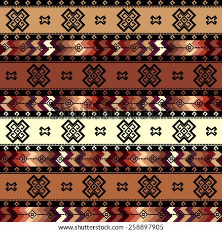 Seamless background pattern. Geometric tribal pattern in aztecs style. - stock vector