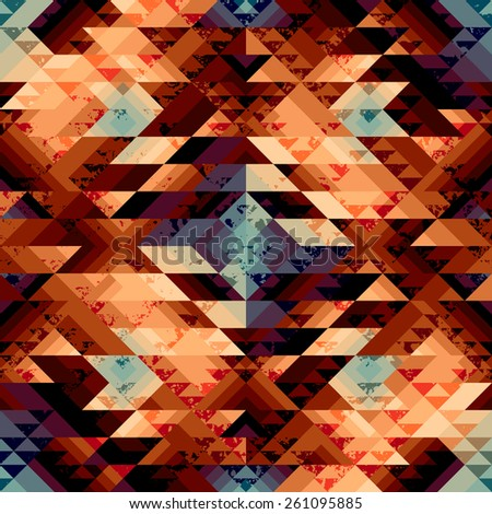 Seamless background pattern. Grunge geometric pattern in aztecs style. - stock vector
