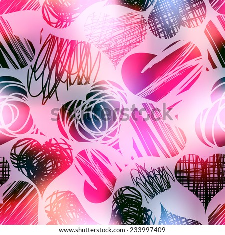 Seamless background pattern. Grunge hearts on blur pink background. - stock vector