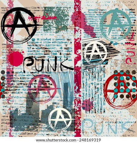 Seamless background pattern. Grunge newspaper with word Punk and anarchy symbols. - stock vector