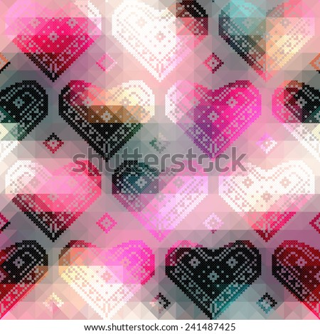 Seamless background pattern. Hearts pattern on geometric background. - stock vector