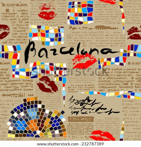 Seamless background pattern.  Imitation of newspaper Barcelona with mosaics. - stock vector