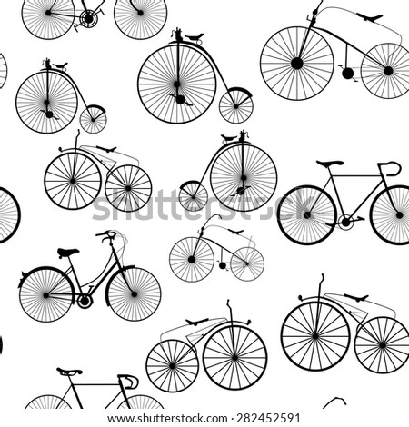 Seamless background pattern. Imitation of newspaper with words Bicycle trip. Vector - stock vector