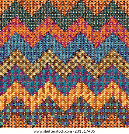 Seamless background pattern. Knitted chevron on patchwork background - stock vector