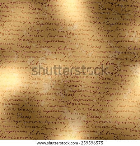 Seamless background pattern. Manuscript background of  zodiac sign names .