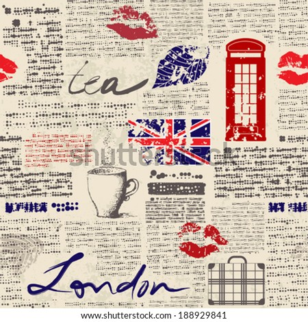 "Seamless background pattern. Newspaper ""London"" - stock vector"