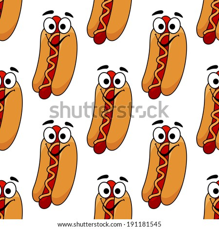 Seamless background pattern of a cheerful hotdog with a frankfurter and mustard dressing for fastfood design - stock vector