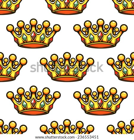 Seamless background pattern of a golden royal crown studded with gemstones, vector illustration - stock vector