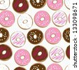 Seamless background pattern of assorted doughnuts, or donuts, with chocolate, white and pink iced ones covered in sprinkles scattered randomly on a white background - stock vector