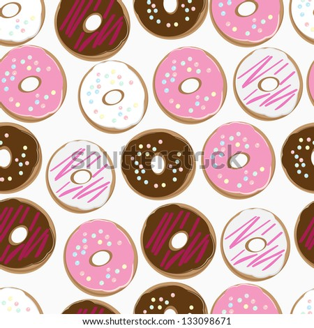 Seamless background pattern of assorted doughnuts, or donuts, with chocolate, white and pink iced ones covered in sprinkles scattered randomly on a white background
