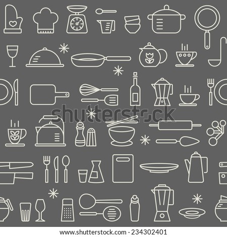 Seamless background pattern of Cooking Kitchen utensil icons set - stock vector