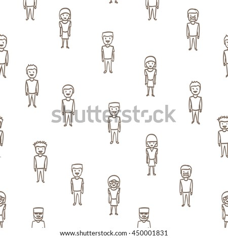 Seamless background pattern of hand drawn people. Vector people pattern. Vector illustration