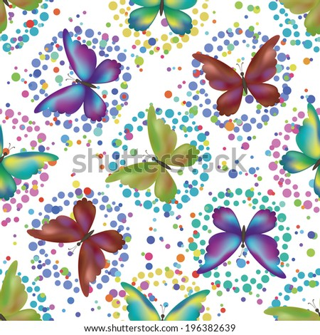 Seamless background, pattern of symbolical colorful butterflies and rings isolated on white. Vector