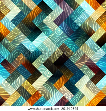 Seamless background pattern. Paisley of dots on geometric background.  - stock vector