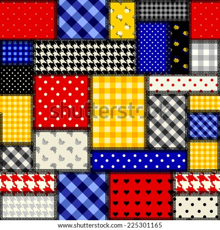 Seamless background pattern. Patchwork in cubism style - stock vector