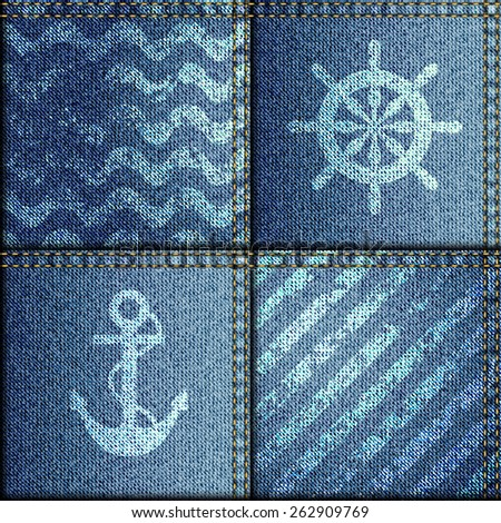 Seamless background pattern. Patchwork of denim fabric in nautical style. - stock vector