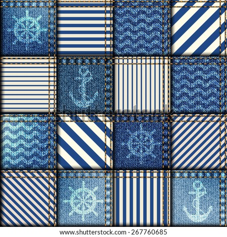 Seamless background pattern. Patchwork of denim fabric in nautical style - stock vector