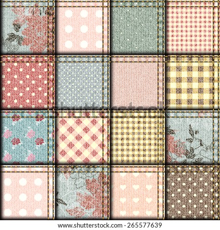 Seamless background pattern. Patchwork of denim fabric in shabby chic style. - stock vector