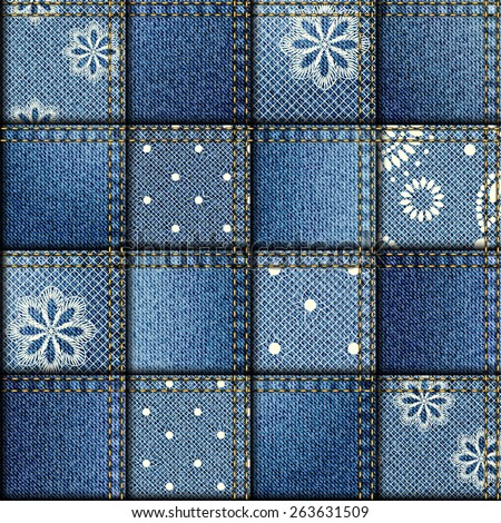 Seamless background pattern. Patchwork of denim jeans fabric and lace. Blue jeans fabric texture. - stock vector