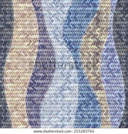 Seamless background pattern. Patchwork of knitted patches. - stock vector