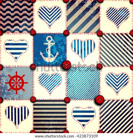 Seamless background pattern. Pattern in patchwork nautical style - stock vector
