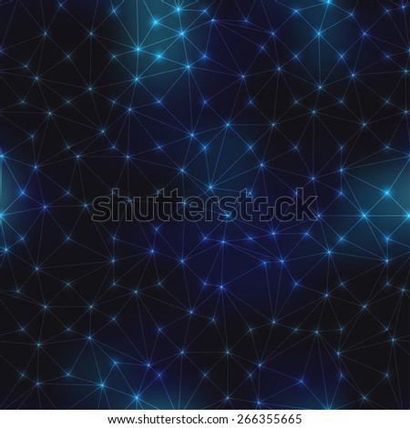 Seamless background pattern. Pattern of space on night sky and abstract geometric connections. . - stock vector
