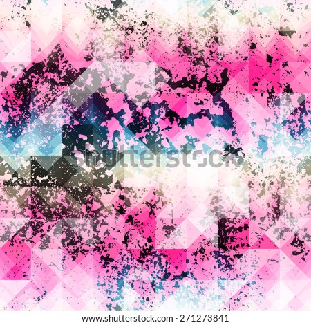Seamless background pattern. Pink grunge geometric pattern. - stock vector
