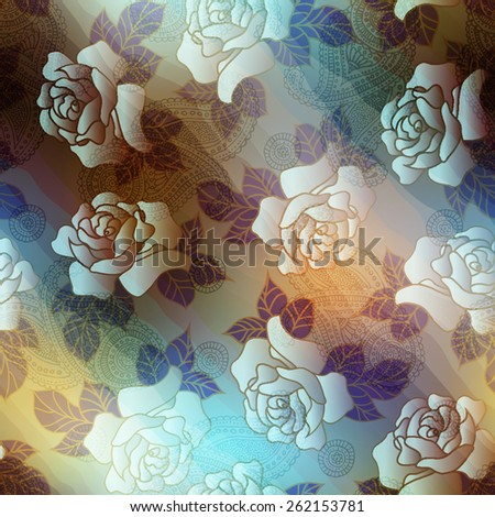 Seamless background pattern. Roses and paisley on blurred background. - stock vector