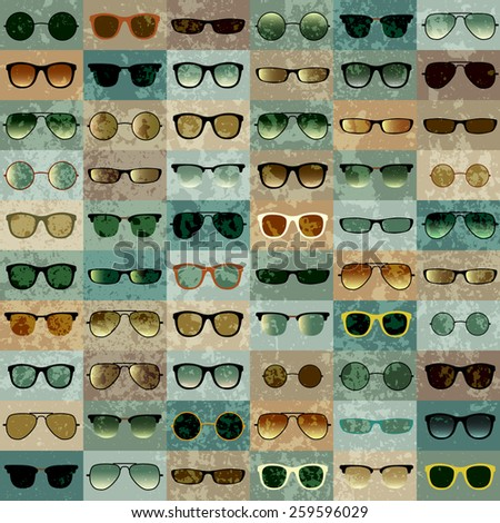 Seamless background pattern. Sunglasses pattern on green grunge background. - stock vector