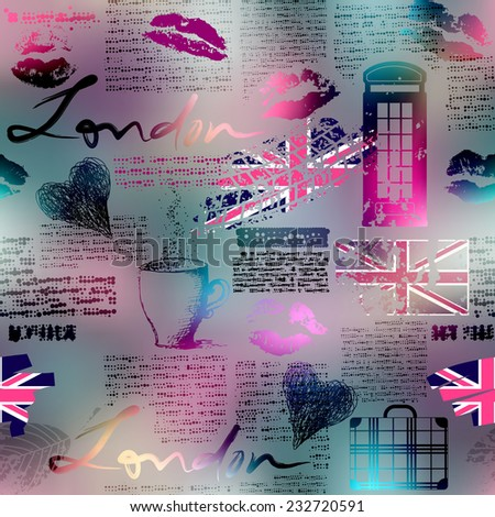 Seamless background pattern. The collage in London style. - stock vector